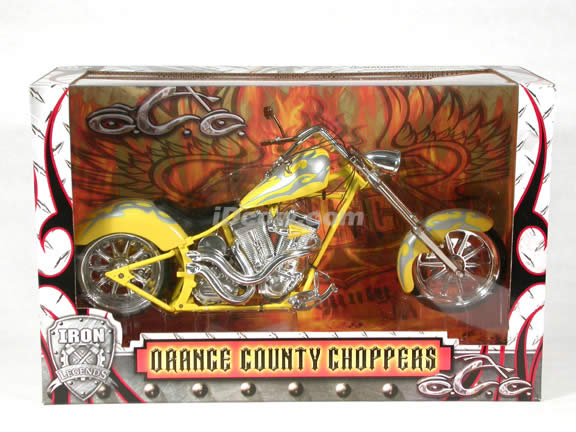 Orange County Choppers Diecast Chopper Model 1:6 scale die cast motorcycle by Toy Zone - Silver & Yellow