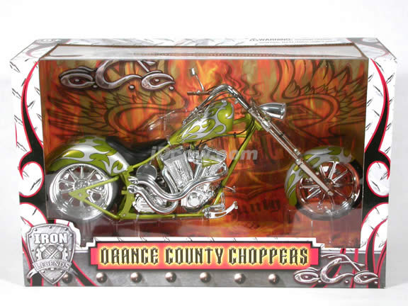 Orange County Choppers Diecast Chopper Model 1:6 scale die cast motorcycle by Toy Zone - Silver & Green 2