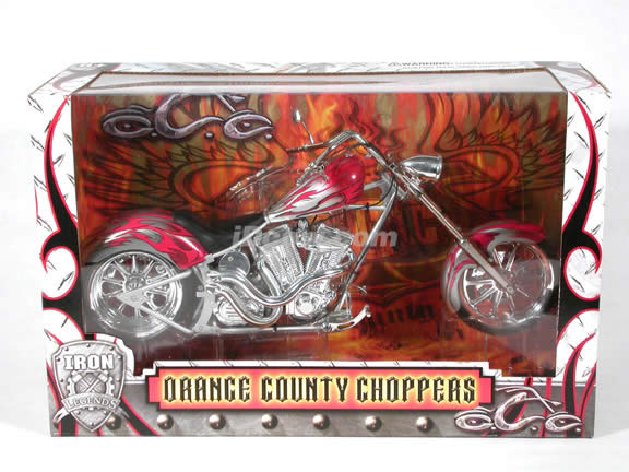 Orange County Choppers Diecast Chopper Model 1:6 scale die cast motorcycle by Toy Zone - Silver & Red