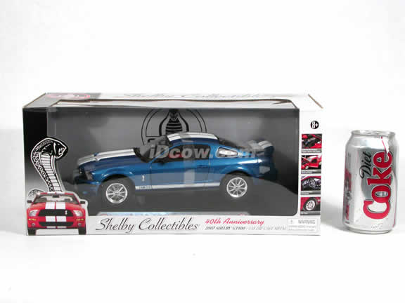 2007 Ford Mustang Shelby GT500 diecast model car 1:18 scale die cast by Shelby Collectibles - Blue 75003
