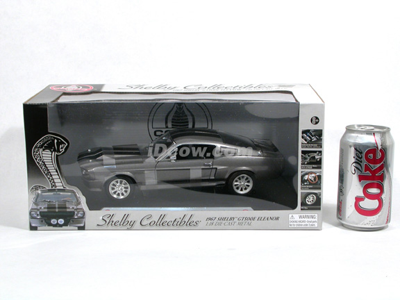 1967 Ford Mustang Shelby GT500E Eleanor diecast model car 1:18 scale die cast by Shelby Collectibles - Grey DC500E