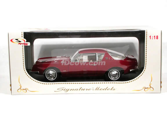 1963 Studebaker Avanti diecast model car 1:18 scale die cast by Signature Models - Maroon