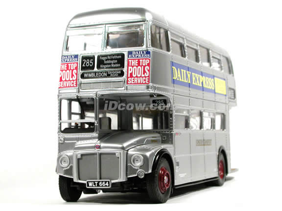 London Double Decker Bus Routemaster diecast model bus 1:24 scale die cast by Sun Star - The Silver Lady with unpainted body