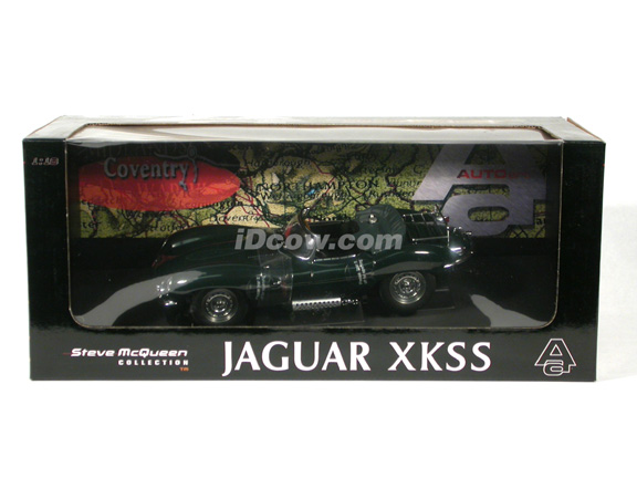 1956 Jaguar XK-SS diecast model car Steve McQueen Collection 1:18 scale die cast by AUTOart - British Green