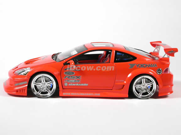 2002 Acura RSX diecast model car 1:18 scale die cast by Muscle Machines - Orange