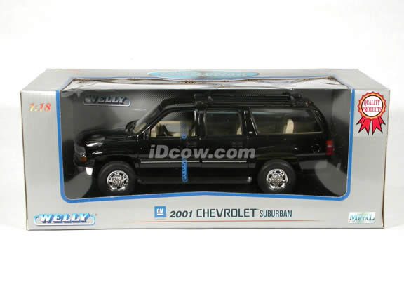 2001 Chevrolet Suburban diecast model truck 1:18 scale die cast by Welly - Black