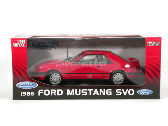 1986 Ford Mustang SVO diecast model car 1:18 scale die cast by Welly - Red
