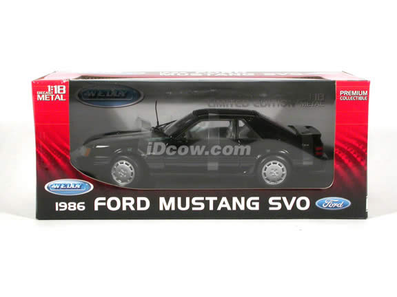 1986 Ford Mustang SVO diecast model car 1:18 scale die cast by Welly - Black