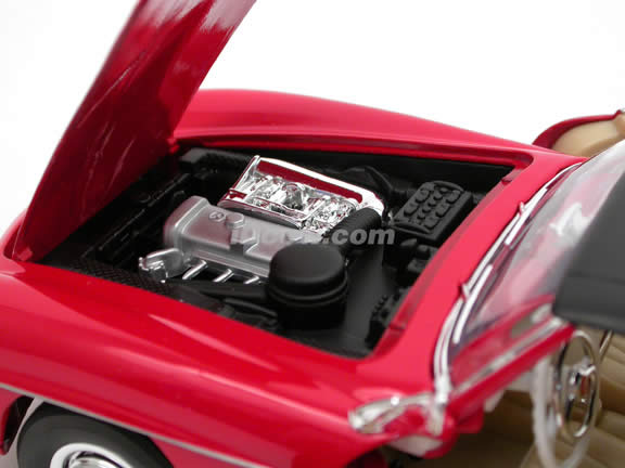 1955 Mercedes Benz 190SL diecast model car 1:18 scale die cast by Welly - Red 9841w