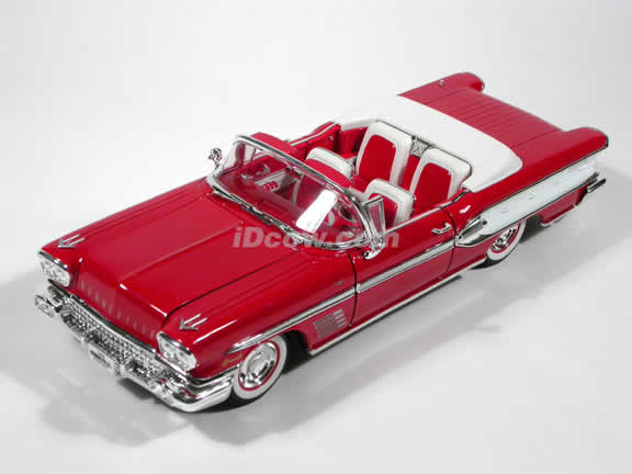 1958 Pontiac Bonneville diecast model car 1:18 scale die cast by Yat Ming - Red