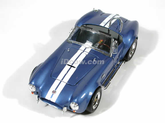 1964 Shelby Cobra 427 S/C diecast model car 1:18 scale die cast by Yat Ming - Blue and White Racing Stripes