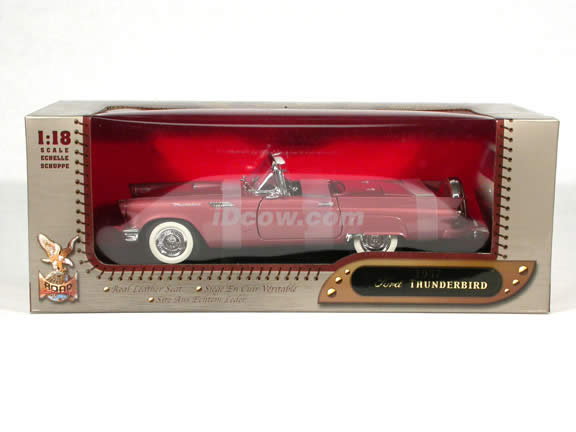 1957 Ford Thunderbird diecast model car 1:18 scale die cast by Leather Series Yat Ming - Metallic Pink