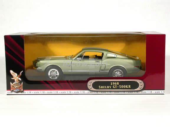 1968 Mustang Shelby Cobra GT 500KR diecast model car 1:18 scale die cast by Yat Ming - Green Metallic