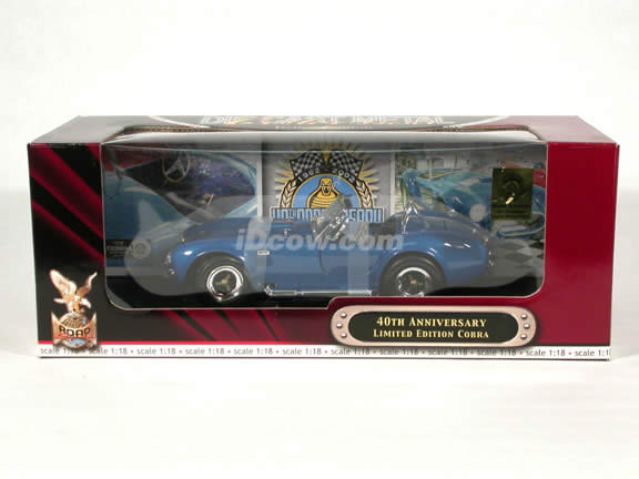40th Anniversary Shelby Cobra 427 S/C diecast model car 1:18 scale die cast by Yat Ming - Blue