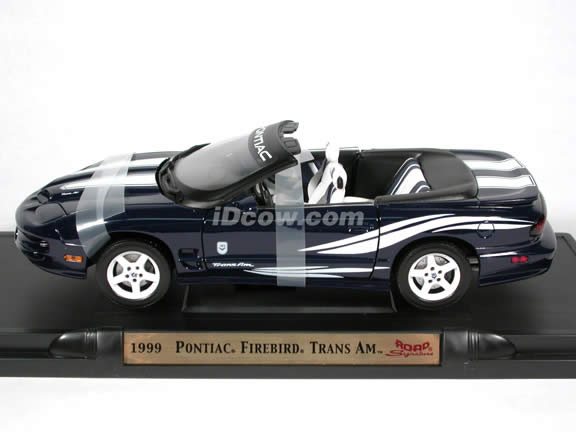 1999 Pontiac Firebird Trans Am Convertible diecast model car 1:18 scale die cast by Yat Ming - Dark Blue with White Racing Stripes