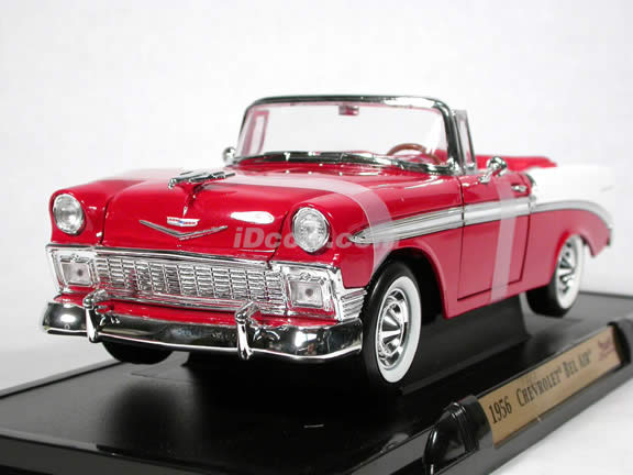 1956 Chevrolet Bel Air diecast model car 1:18 scale convertible by Yat Ming - Red Convertible